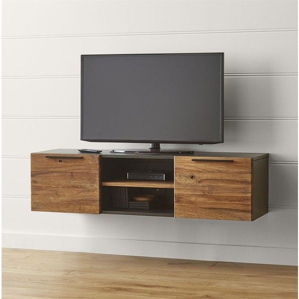 """Crate & Barrel Rigby 55"""" Small Floating Media Console ($899) ❤ liked on Polyvore featuring home, furniture, storage & shelves, entertainment units, crate and barrel media console, crate and barrel furniture, crate and barrel, crate and barrel tv console and crate and barrel media cabinet"""