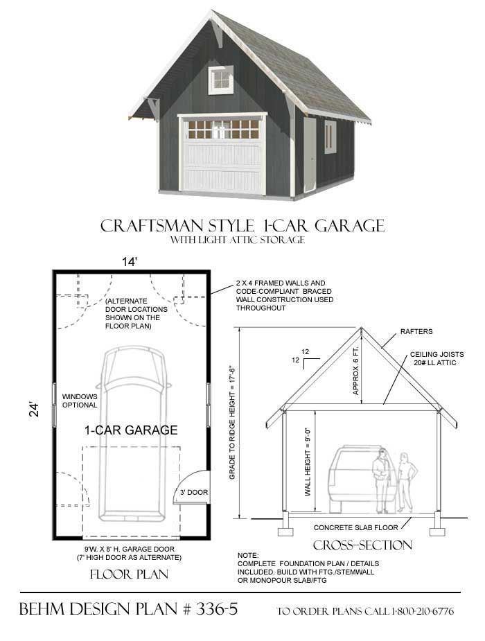 One car garage has Craftsman styling with roof brackets, framed attic roof, attic window and broad  roof overhangs. Stle is compatible with many older and new homes. Ideal size single car garage. Available only at Behm Design.