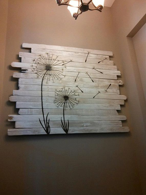 Fence wood dandelion painting. Would live to make this for my living room!!