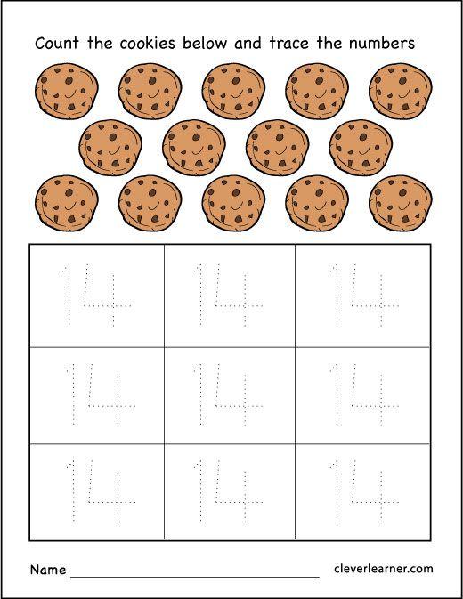 Number 14 cookies worksheet for preschool children #worksheets #number #childrenmath http://cleverlearner.com/number-activities/number-fourteen-14-worksheets.html