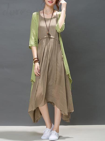 Doresuwe.com SUPPLIES 新作レディースファッションカジュアルワンピース+半袖カーディガン2点セット おしゃれセットアップ
