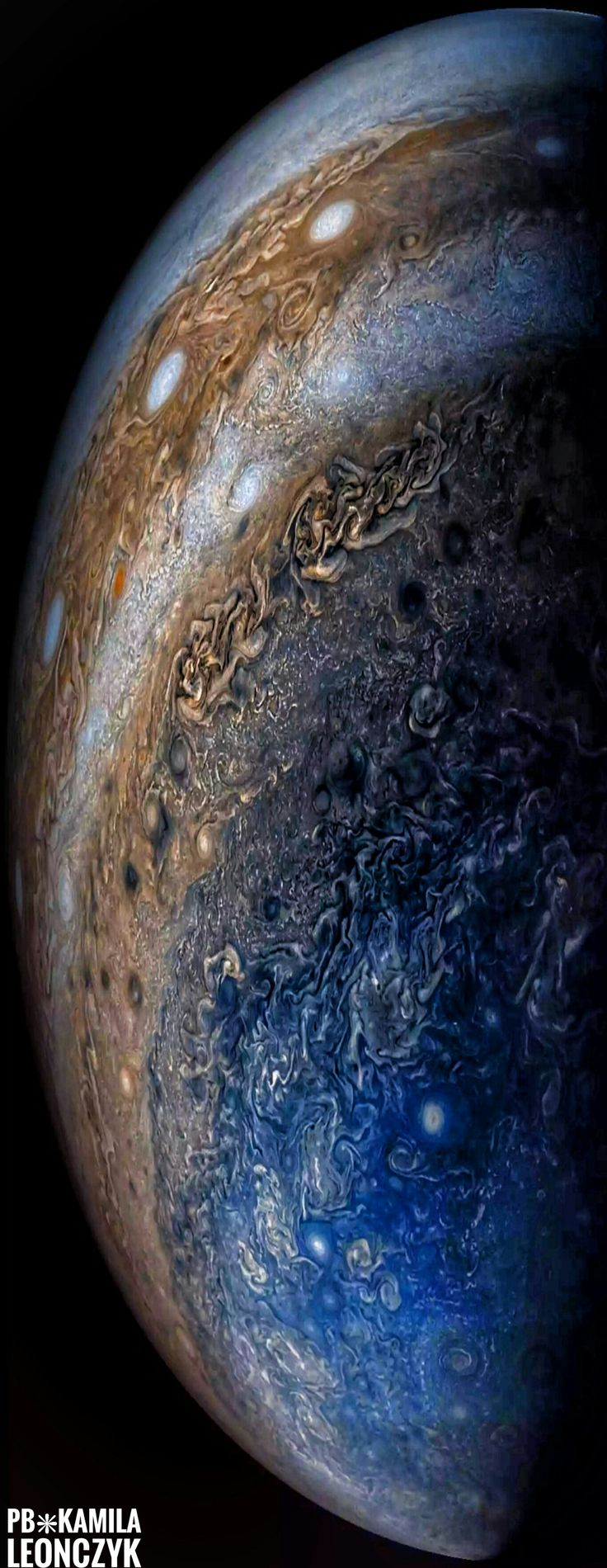 Jupiter is stranger than we knew. NASA's Juno spacecraft has now completed its sixth swoop past Jupiter as it moves around its highly ellipticalorbit. Pictured, Jupiter is seen from below where, surprisingly, the horizontal bands that cover most of the planet disappear into swirls and complex patterns. A line of white oval clouds is visible nearer to the equator. Recent results from Juno show that Jupiter's weather phenomena can extend deep below its cloud tops...