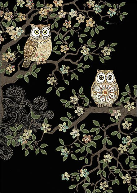 Two Owls by Jane Crowther for Bug Art greeting cards.
