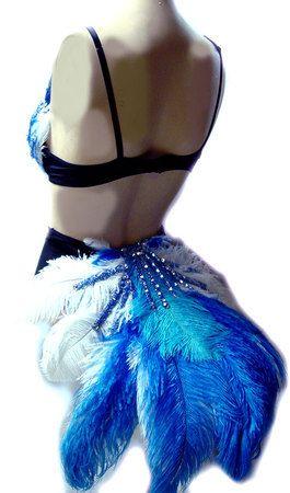 Blue Bird Burlesque Feather Bra Booty Fantail SET RIO Blue Macaw Bird Costume Made 4 U. $159.94, via Etsy.