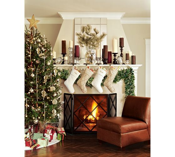 Engravable simple stocking holder brass finish garlands for Brass stocking holders fireplace