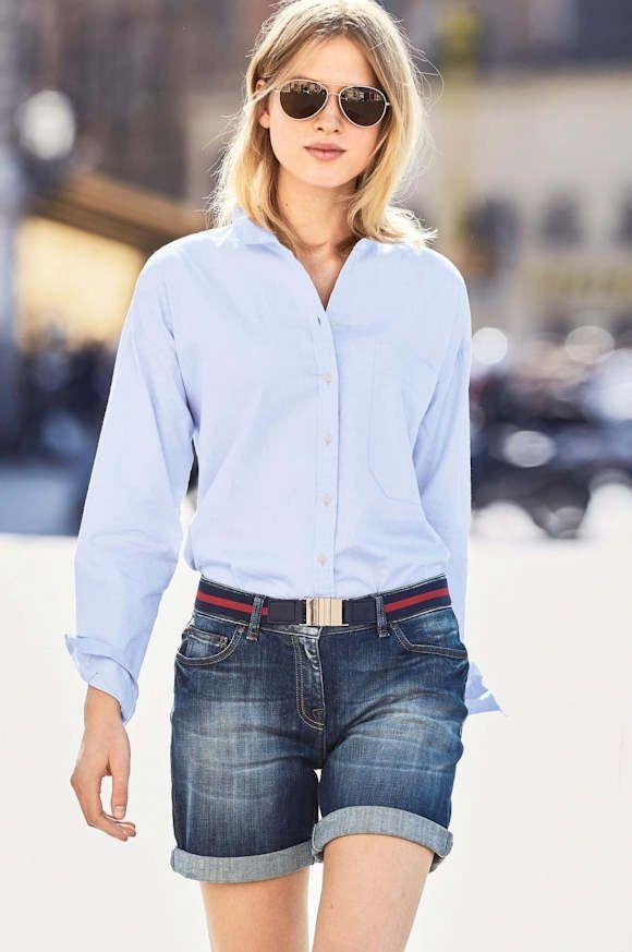 Tenue décontractée chic : short en jean coupe boyfriend + chemise bleu clair classique >> http://www.taaora.fr/blog/post/look-decontracte-chic-chemise-bleu-ciel-poche-plaquee-short-en-jean-boyfriend #look #outfit #ootd