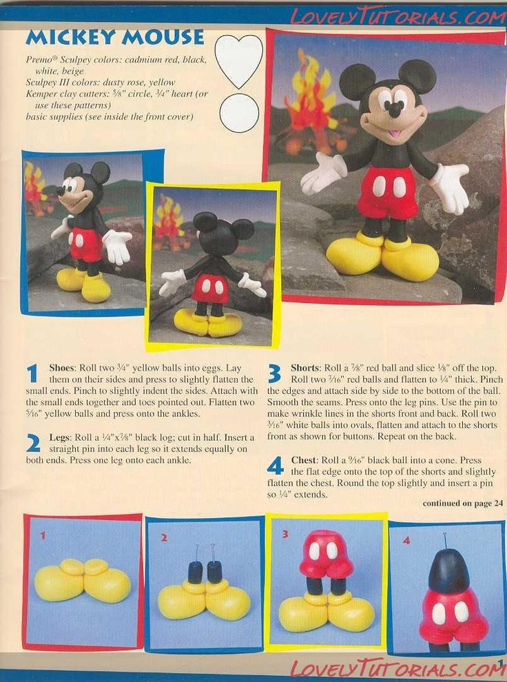 Mickey Mouse . Also has lots of other tutorials, both for clay and sugarcraft