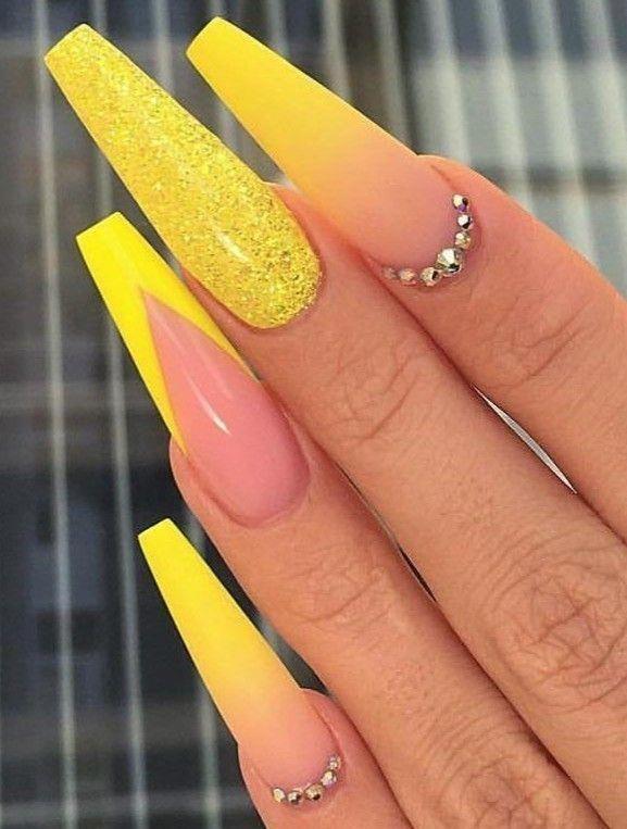 Ballerina Nails Neon Nails Summer Nails Neon Yellow Nails Nails With Rhinestones Glitter Nails Acrylic N In 2020 Neon Yellow Nails Summer Nails Neon Yellow Nails