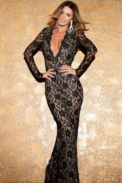 10049 Plunge V Lace Maxi Dress with Scoop Back