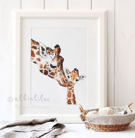 Giraffe Print Giraffe Nursery Fine Art Print Giclee Giraffe Art Mother's Day Gift Mom and Baby Giraffe Safari Nursery Art Gift For Kids