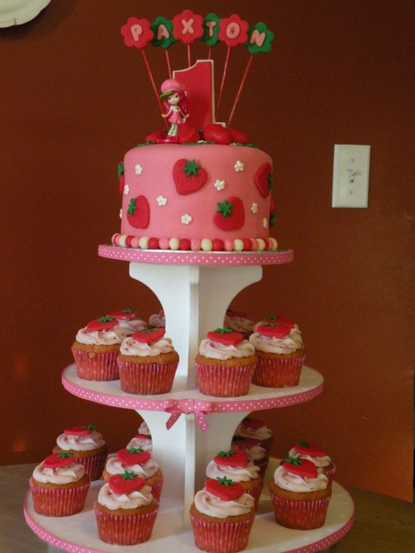 Strawberry Shortcake birthday cake & cupcakes! I think I love this one best...just need to order two!!