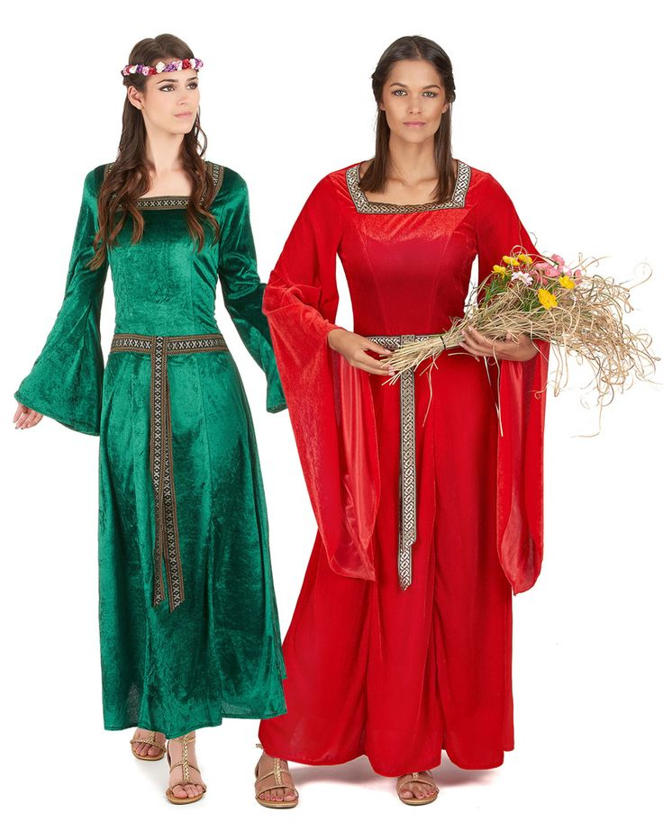 Disfraz de pareja medieval mujer: Disfraz medieval verde para mujerEste disfraz medieval para mujer es un vestido de efecto terciopelo verde (diadema y zapatos no incluidos).Es de manga larga y ancha. La cintura es ajustada con un...