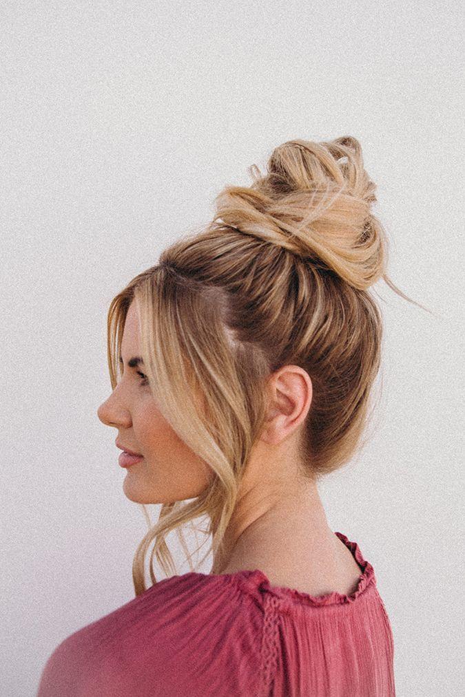 Hair How-To: Ein müheloses Top-Knot-Tutorial von Amber Fillerup Clark