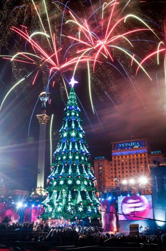 Christmas fireworks in Kyiv, Ukraine.