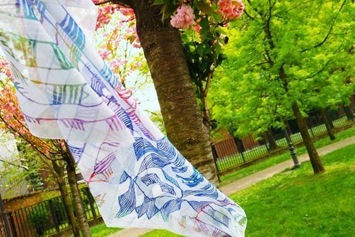 Le foulard Mbuti, qui peut-etre utilisé aussi comme objet d'art, en le pinçant sur un Canvas, et l'embellissant avec un cadre