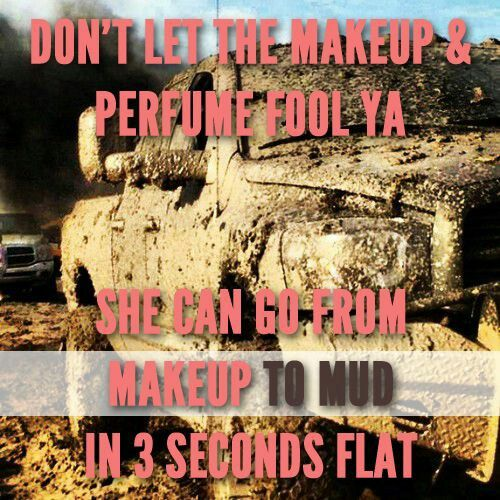 Makeup to mudd in 3 seconds flat. #countrygirl #trucks #mudding #mud #country visit: https://www.facebook.com/truckyeahletsgomuddin