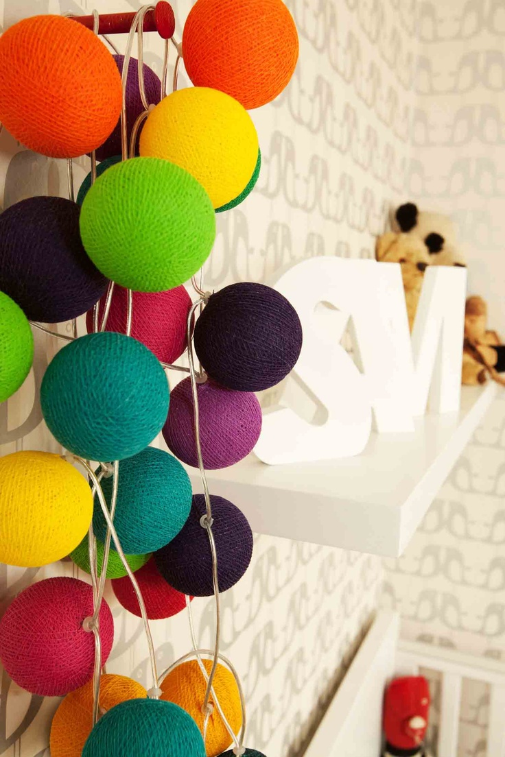 The lovely bright Cable and Cotton lights in our modern nursery.