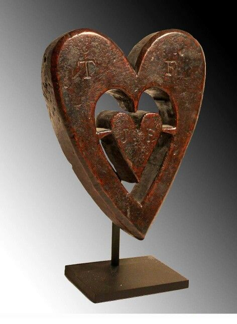 Folk art carved heart