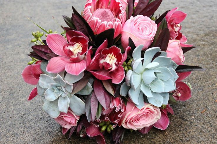 Pink coral gray succulent bouquet protea roses orchids wedding flowers portland Oregon Romantic blush pink bouquet. Www. Sophisticatedfloral.com