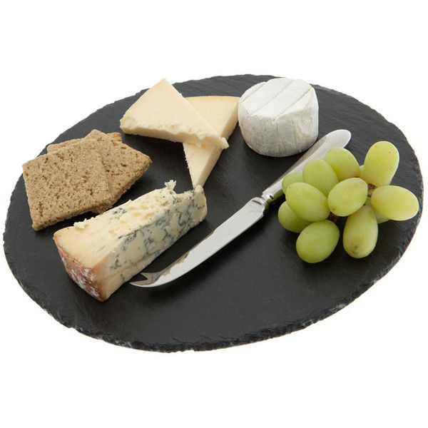 Just Slate Cheese Board - Round found on Polyvore featuring home, kitchen & dining, serveware, black, round cheese board, cheese knife, cheese serving board, slate cheese board and cheese board