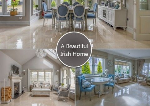 Check out this beautiful Irish home which uses these exquisite polished crema marfil alba floor tiles from TileStyle, Dublin.