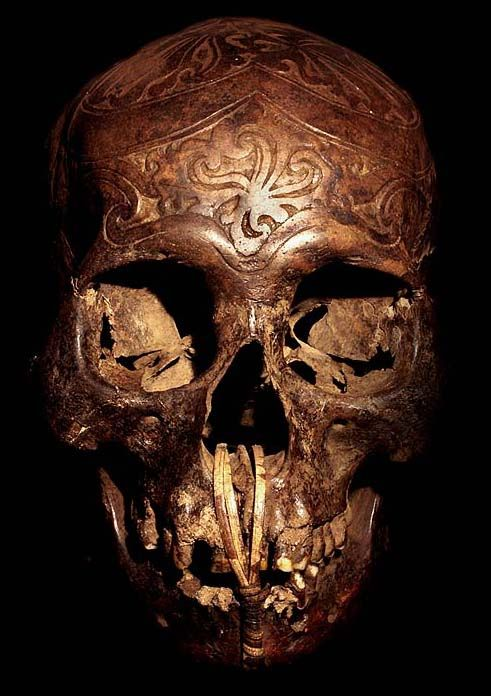 DAYAK CARVED: HEAD HUNTING HUMAN TROPHY #11  HAND CARVED HUMAN BONE  THE DAYAK TRIBE, FROM BORNEO ISLAND  INDONESIA, CARVE DESIGNS INTO THE SKULLS  OF THEIR HEADHUNTED VICTIMS AND INSERT WOODEN FIGURES.