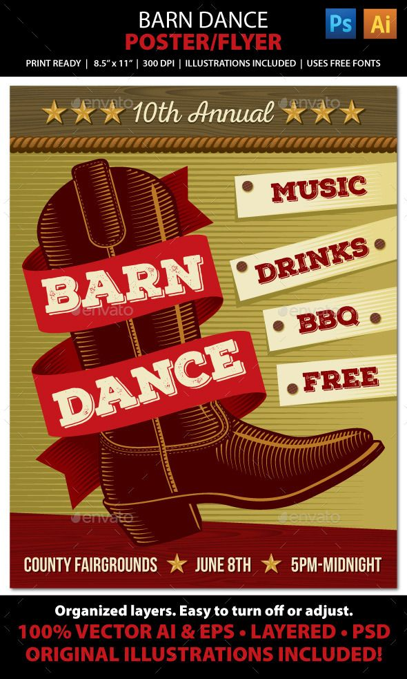 Country Music Barn Dance Poster Flyer Or Ad Square