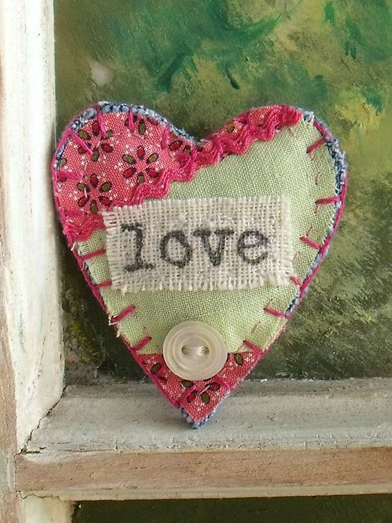 Fabric Brooch, Heart Shaped, Jewelry, Brooch, Vintage Quilt Block Fabric, Handmade Brooch, Love