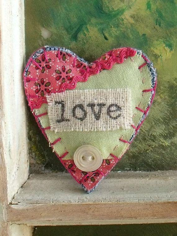 Fabric Brooch, Heart Shaped, Jewelry, Brooch, Vintage Quilt Block Fabric, Handmade Brooch, Love