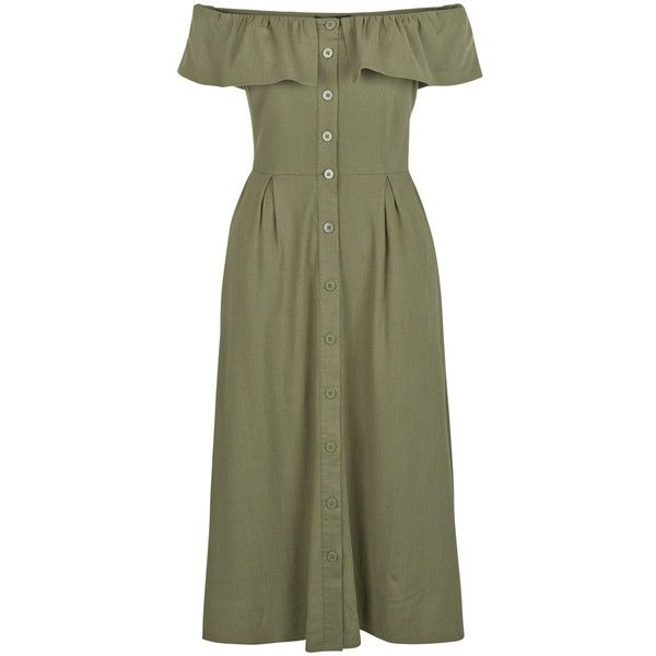 New Look Khaki Button Front Frill Bardot Neck Midi Dress (733.465 VND) ❤ liked on Polyvore featuring dresses, khaki, button front dress, midi cocktail dress, ruffled dresses, special occasion dresses and frilly dresses