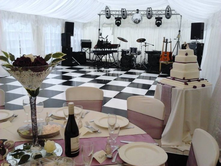 Available to hire, our black and white dance floor. Contact us for more details. www.lakelandevents.co.uk
