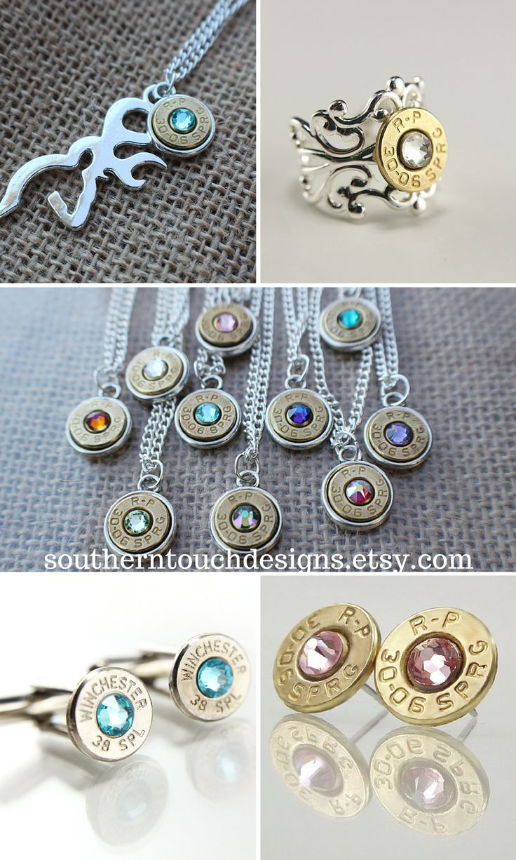 Forget diamonds, bullets are a girl's best friend! Don't miss out on these handcrafted bullet jewelry designs from southerntouchdesigns.etsy.com  #BulletJewelry #Browning #Country #Girl #Guns