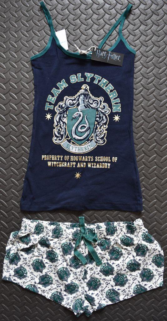 PRIMARK Team Slytherin Harry Potter Vest & Shorts PJ Hogwarts Set Sizes 6 - 20