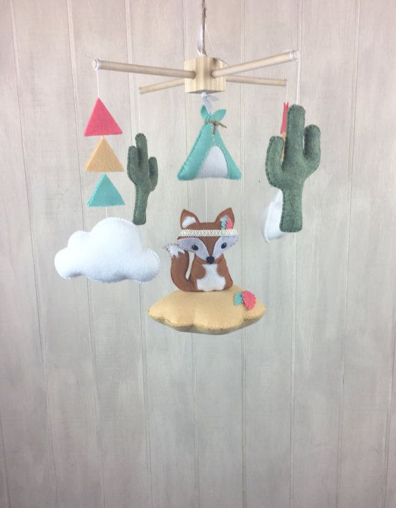 Baby mobile tribal mobile fox mobile cactus by littleHooters