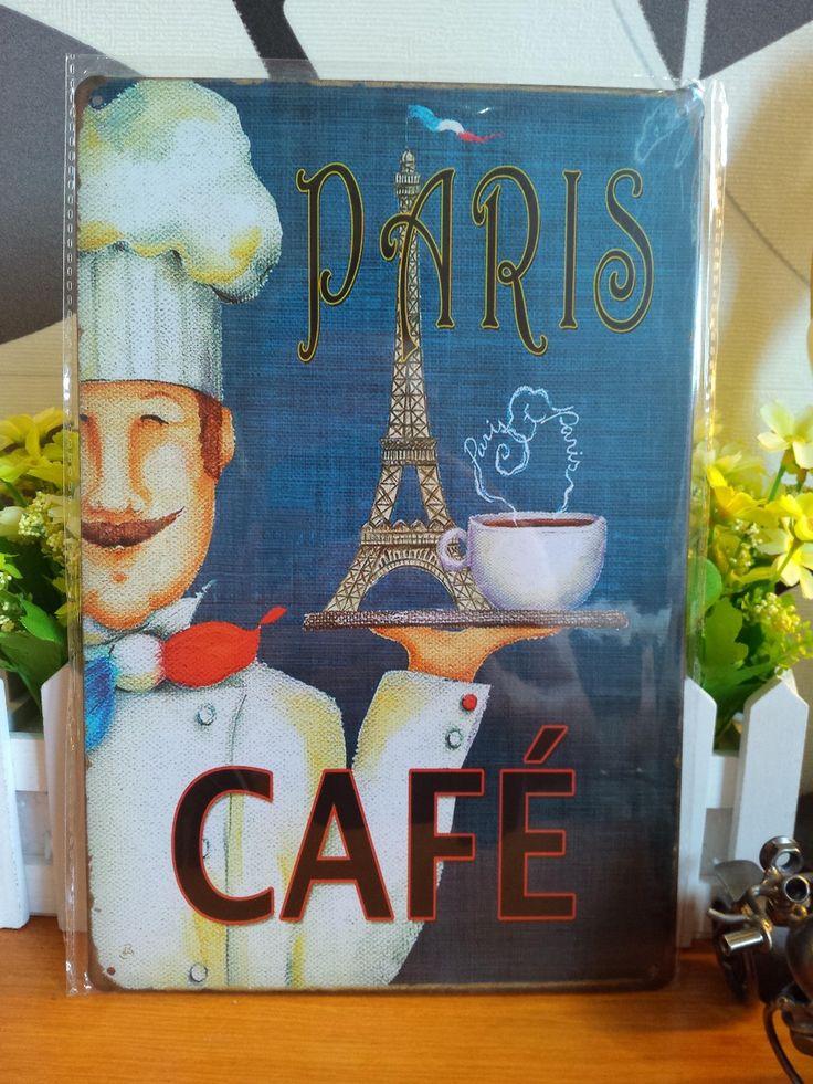 Pas cher vintage m tal peinture retro m tal inscrivez tin paris caf art affi - Affiches decoration interieure ...