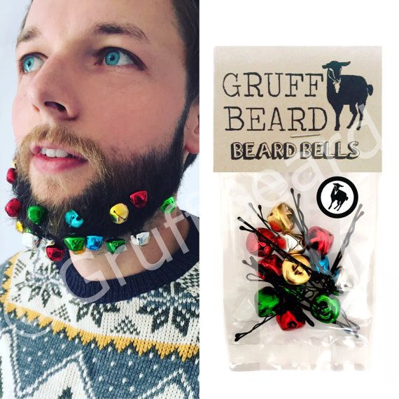 Beard Bells. Jingling bells for your beard. Christmas gift set for men, stocking filler, secret santa, xmas beard baubles decorations