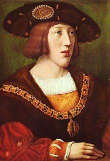 Portrait de Charles Quint adolescent par Bernard van Orley (v 1516). - Dans une époque où les communications sont lentes et précaires, l'étendue de l'empire de Charles Quint est une source de fragilité: la mainmise sur l'Italie, au nom des prétentions espagnoles, assurerait le lien entre l'Espagne et l'Empire; l'acquisition de la Bourgogne, au nom de l'héritage du Téméraire, raccorderait les Pays-Bas aux possessions plus méridionales.