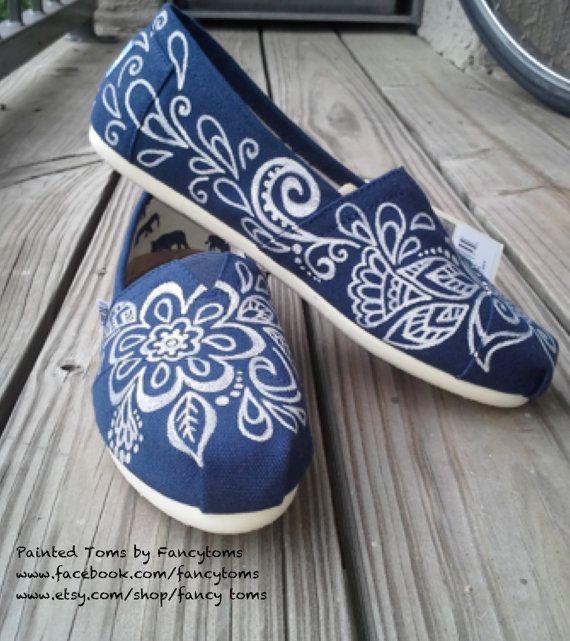 Handpainted Custom TOMS Shoes - Tropical flowers