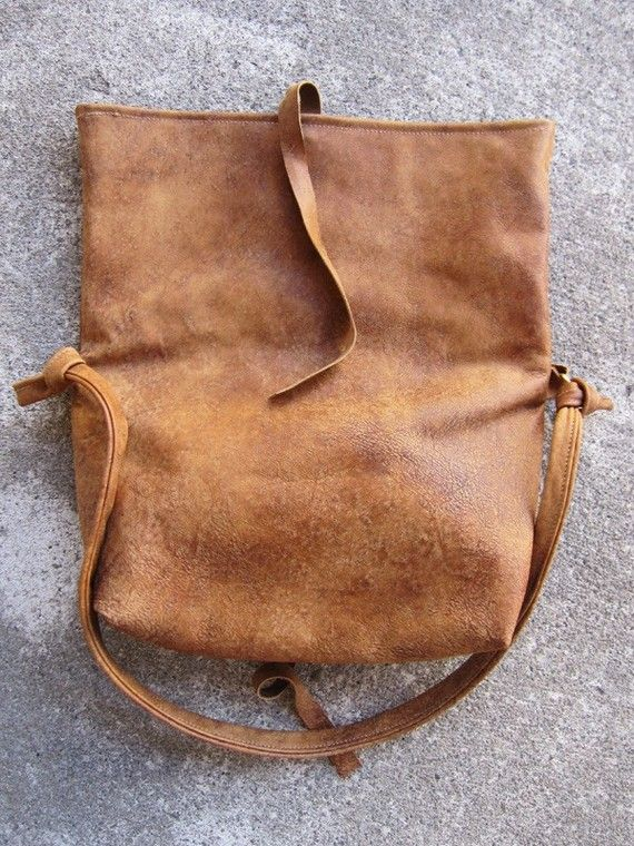 brilliant, unfolded leather tote/clutch