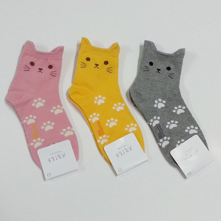 3 Pairs of Colorful Cute Womens Socks - Cute Cat Foot Print #kawaii