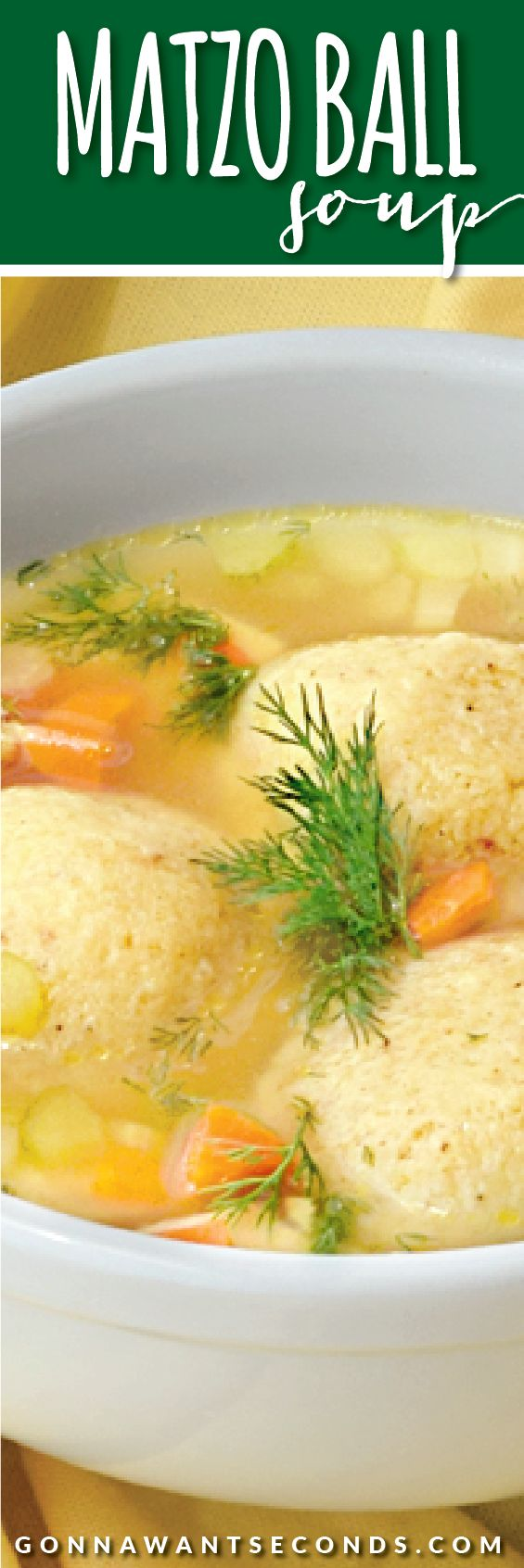 Deliciously light and  fluffy Matzo balls floating in a rich and savory chicken broth loaded with carrots, celery and chunks of chicken!