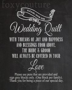 Please Sign Our Wedding Quilt on a Faux by FoxyCoutureDesigns, $6.00