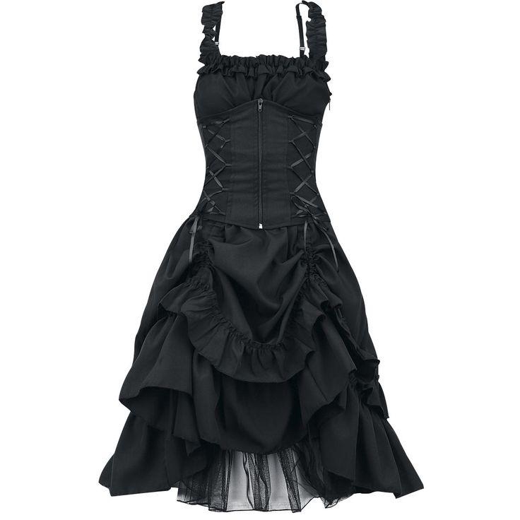 Jurk met figuur-accentuerende corset-look, afneembaar corset met rits op de voorzijde en vetering op de achterzijde. Het voorste gedeelte van de rok kan worden geplooid. Lengte: ca. 89 cm.