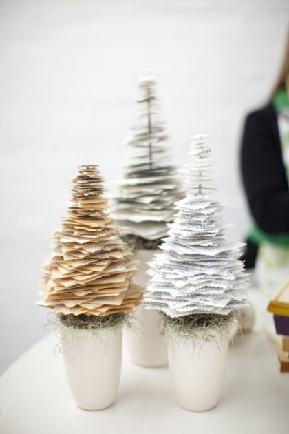 DIY christmas tree out of paper, book pages ripped into squares, then biggest to smallest to make a tree; link will eventually get you to the original