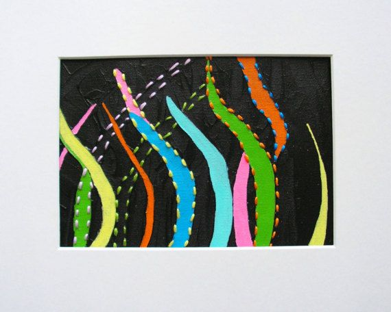 An Original Abstract Painting With Embroidery by KeksArtCollection