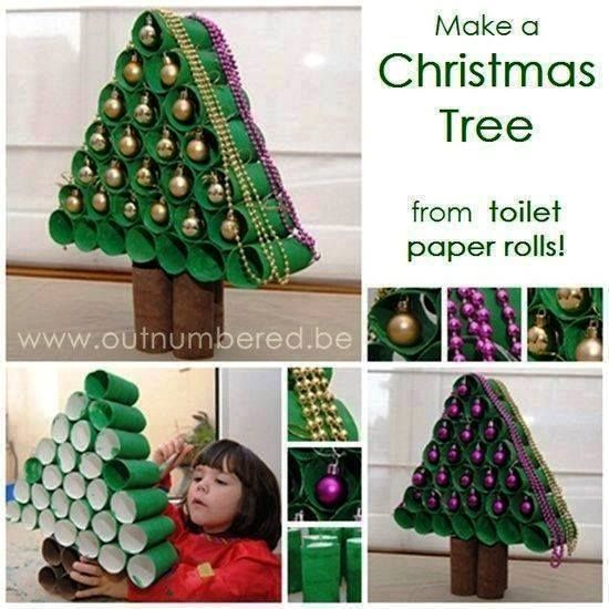Christmas Tree from toilet paper rolls - If I don't buy a small tree this year, this would be an alternative :)