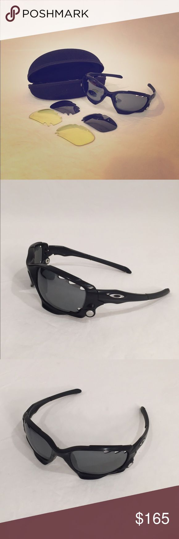 Black Oakley RACING JACKET sunglasses Black Oakley RACING JACKET Sunglasses with Switch lock interchangeable system for wearing authentic Oakley Racing Jacket Black AND Yellow vented Lenses  Along with Black Oakley vault sunglasses hard case. Fitted.  Read Less Oakley Accessories Sunglasses