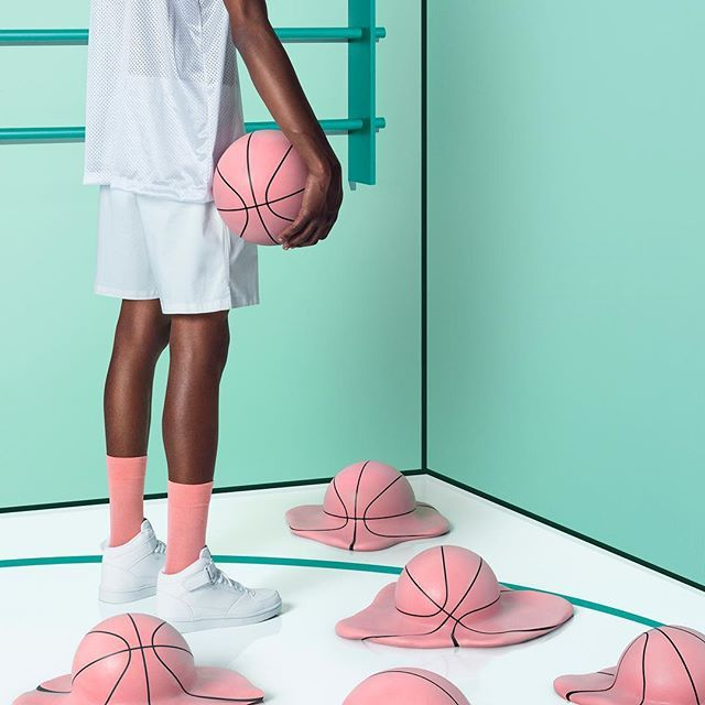art direction | basketball lifestyle photography - mint pink + white