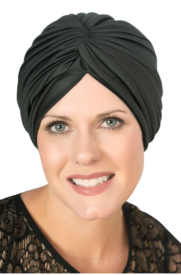A shirred top on a vintage style polyester turban #chemohat #cancerhat