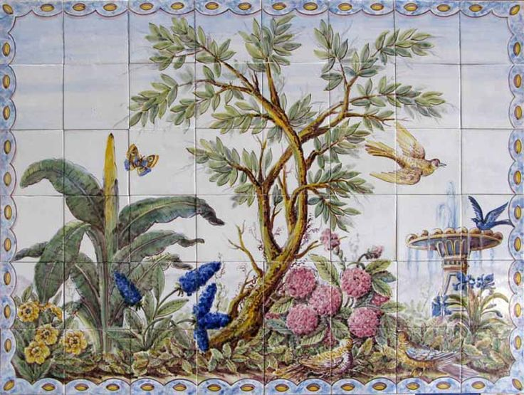 19th Century Portuguese Tile murals, spanish tile, victorian tile, decorative tile, ceramic tile